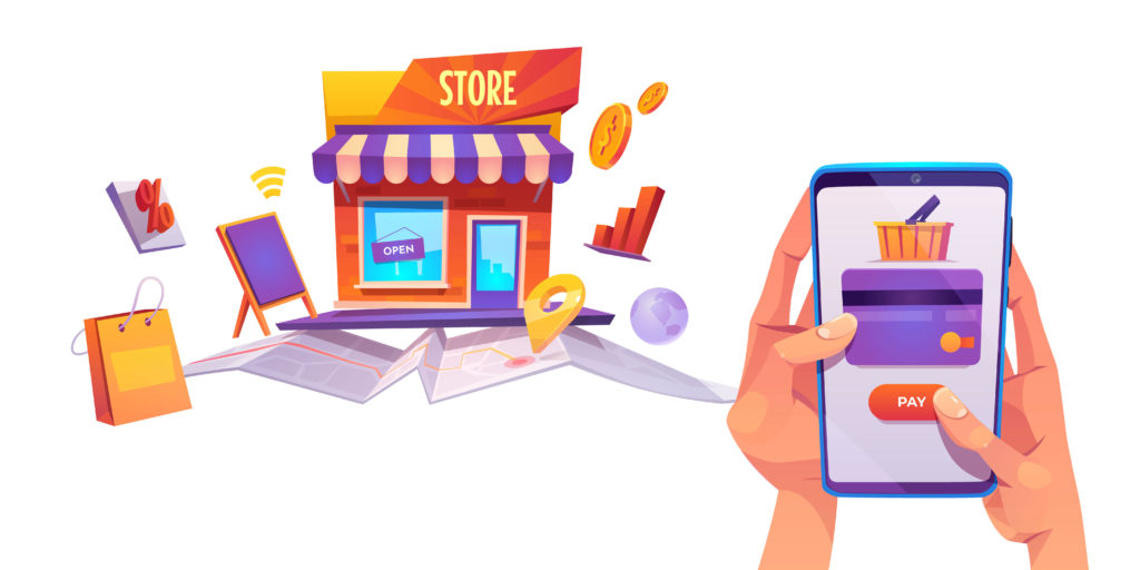 Online Payment Banner, Smartphone Credit Card